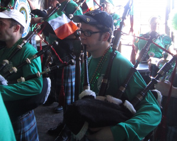 Colin Arnold, 17 — the youngest member of the Maine Public Safety Pipe & Drum Corps — performs a solo at Byrnes Irish Pub in Brunswick on Sunday.