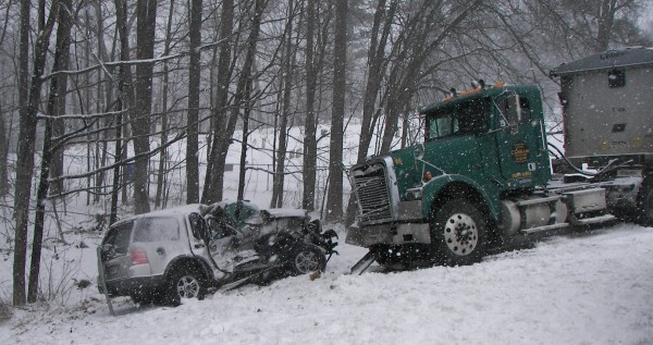 State police say a Thorndike woman remains in critical condition after her SUV collided with a tractor trailer on the Unity Road in Benton Tuesday afternoon during yesterday's storm. Both vehicles came to rest off the road following the collision. The two drivers were alone when the crash took place about 12:30 p.m.