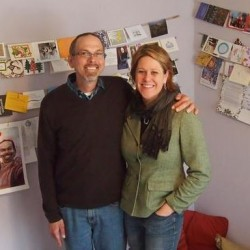 Letters, drawings, paintings and cards from friends, family and strangers surround Greg and Maggie Bokor at their home in Cape Elizabeth on March 15. Greg was diagnosed with stage IV pancreatic cancer last December. The Bokors are hosting a fundraising event on Saturday, April 27, 6:30-11 p.m.