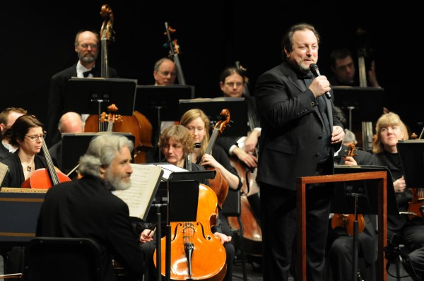 Bangor Symphony Orchestra conductor Lucas Richman addresses the audience on Sunday at the Collins Center in Orono.