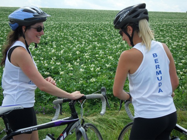 Sisters Johnna Schifilliti (left) and Jordan Coursen take in some St. John Valley scenery over a three-day bicycle adventure last year. The two traveled from New York City and Bermuda to bike at the top of Maine.