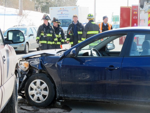 High Street in Ellsworth was limited to two lanes for about 45 minutes after a pickup and a car collided Thursday morning.