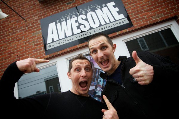 Brothers Jason (left) and Matt Tardy ham it up in front of their new venue for world-class variety acts called The Freeport Theater of Awesome, a name they admit their mother came up with.