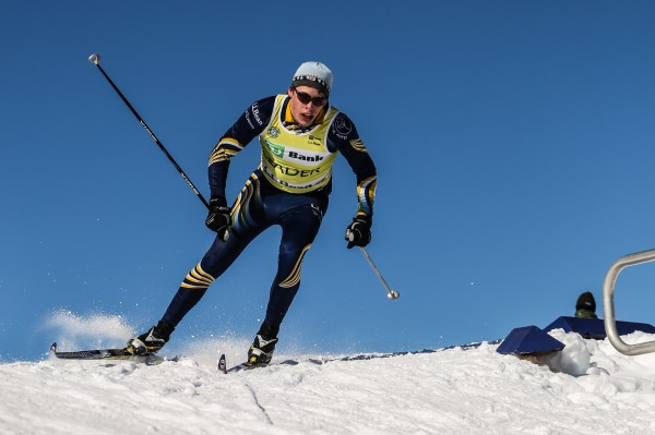 The Maine team's Silas Eastman skis to a first-place finish in the TD Bank Eastern High School Championships' mass start Saturday at the Nordic Heritage Center in Presque Isle. Eastman won the 7.5-kilometer race with a time of 20 minutes, 59.70 seconds.