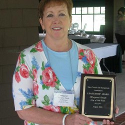 Peggy Daigle receives the Maine Town and City Management Association's 2010 Leadership Award.