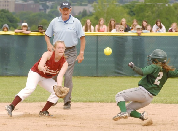 Penobscot Valley High School Alissa Whitten (2) safely steals second base before the tag of Richmond High School Ciarra Lancaster (18) during Class D State Softball action at Coffin Field in Brewer Saturday, June 16, 2012.