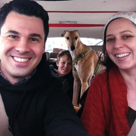 Steve Kelly, his son Oskar, dog Happy and wife Jocelyn en route to Fort Kent.