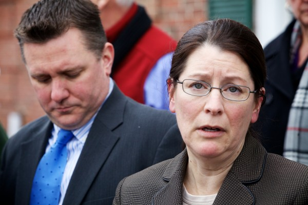 York County Deputy District Attorney Justina McGettigan (right) and Assistant District Attorney Patrick Gordon speak to reporters outside the York County Courthouse in Alfred Wednesday after a jury convicted Mark Strong on 12 counts of promoting prostitution and one count of conspiracy to promote prostitution.
