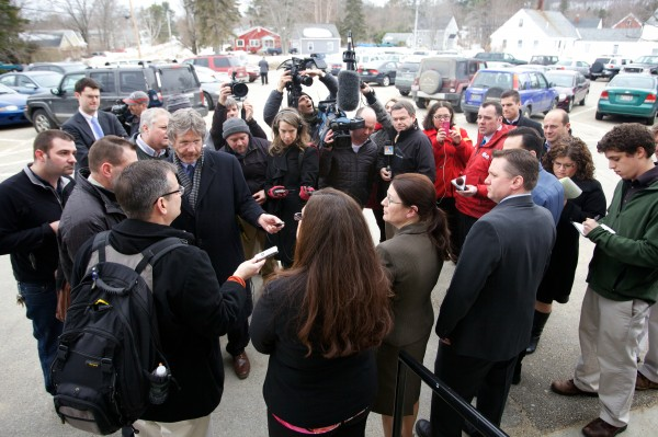 The prosecution team speaks to reporters outside the York County Courthouse in Alfred on Wednesday, March 6, 2013, after a jury convicted Mark Strong on 12 counts of promoting prostitution and one count of conspiracy to promote prostitution.