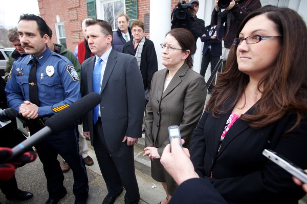 Kennebunk Police Chief Robert MacKenzie (from left), York County Assistant District Attorney Patrick Gordon, York County Deputy District Justina McGettigan and Kennebunk Police Officer Audra Presby speak to reporters outside the York County Courthouse in Alfred on Wednesday, March 6, 2013, after a jury convicted Mark Strong on 12 counts of promoting prostitution and one count of conspiracy to promote prostitution.