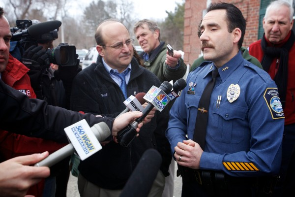 Kennebunk Police Chief Robert MacKenzie speaks to reporters outside the York County Courthouse in Alfred on Wednesday, March 6, 2013, after a jury convicted Mark Strong on 12 counts of promoting prostitution and one count of conspiracy to promote prostitution.