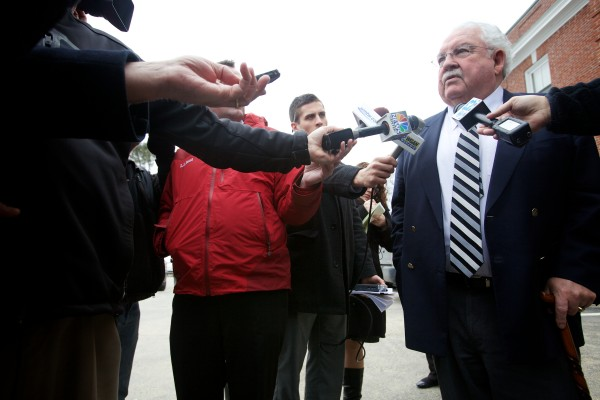 Dan Lilley, defense attorney for Mark Strong, speaks to reporters outside the York County Courthouse in Alfred on Wednesday, March 6, 2013, after a jury convicted Strong on 12 counts of promoting prostitution and one count of conspiracy to promote prostitution.