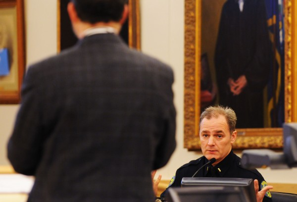 Bangor police officer Lt. Mark Hathaway answers questions from defense attorney Marvin Glazier during a motion to suppress evidence at the Penobscot Judicial Center on Monday. Glazier is representing former Bangor police detective Erik Tall on a OUI charge from Oct. 2012. Tall is accused of operating a police cruiser while under the influence.