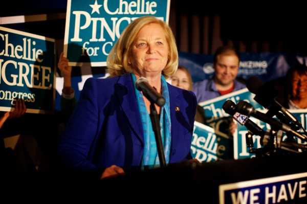 Chellie Pingree declares victory in Portland Tuesday night Nov. 6, 2012.