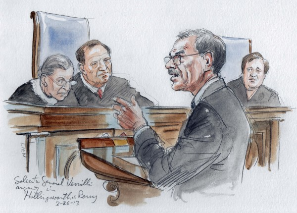 Solicitor General Donald Verrilli argues in front of Justices Ruth Bader Ginsburg, Samuel Alito, and Elena Kagan, from left, in the U.S. Supreme Court about California's Proposition 8 in Washington, March 26, 2013.