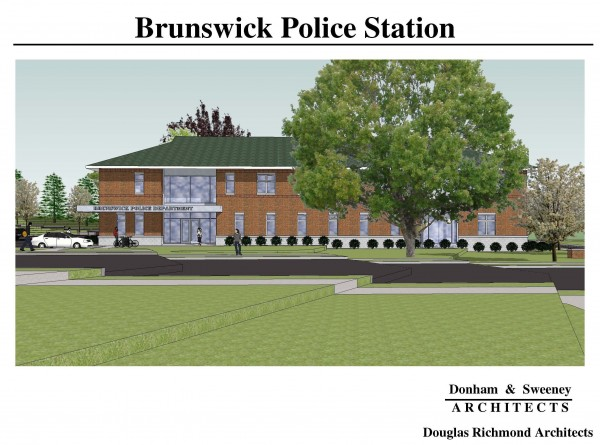 A sketch shows the new Brunswick Police Station, which is scheduled for completion in September.