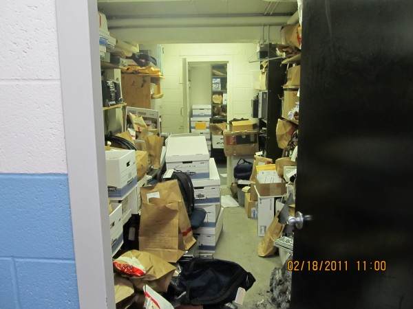 A crowded evidence room at the Brunswick Police Station.
