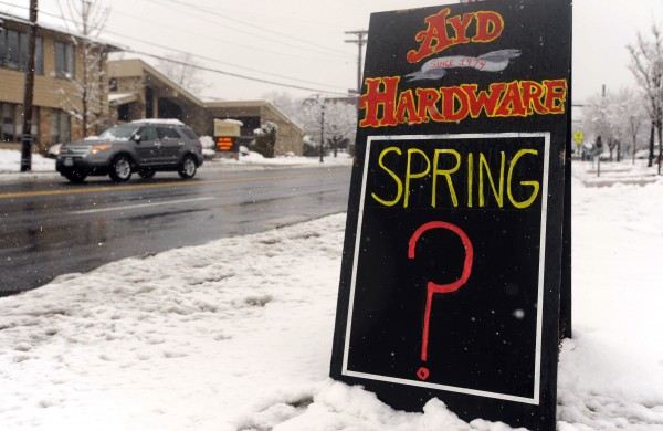 A sign in front of Ayd Hardware on York Road in Towson, Maryland comments on late snowstorm, Monday, March 25, 2013.