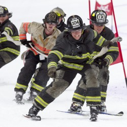 Maine firefighters ski in gear for fundraiser