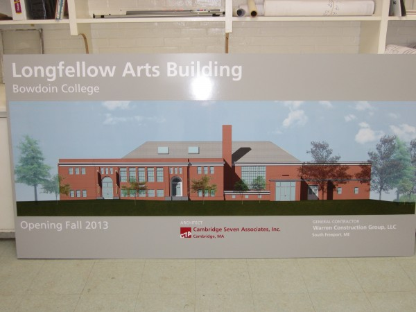 An artist's rendering shows the exterior of the newly renovated Longfellow Arts building at Bowdoin College, due to open in the fall of 2013.