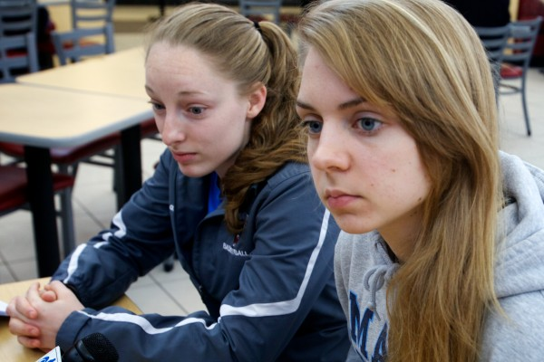 Liz Wood (right), a freshman on the University of Maine women's basketball team, was announced as the America East Conference Co-Rookie of the Year on Thursday in Albany, N.Y.