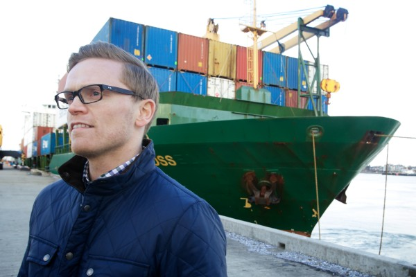 Gylfi Mar Geirsson of Eimskip talks about his company's plans for shipping in and out of Portland's International Marine Terminal on Wednesday afternoon.