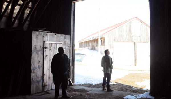Alan Millay (right) and his brother Douglas stand at the former Rocky Acres dairy farm in Liberty. After the price of fuel, grain and other needed supplies jumped, they decided to close down the farm and sell the cows and equipment. The farm was started by their parents, George and Margaret Millay, in 1951.