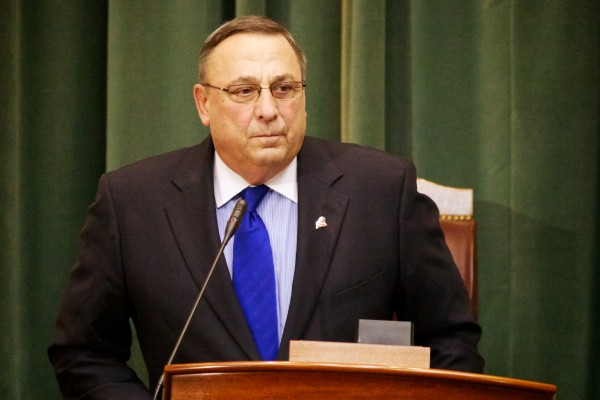 Maine Gov. Paul LePage takes the podium in Augusta Tuesday night Feb. 5, 2013 to deliver his State of the State address.