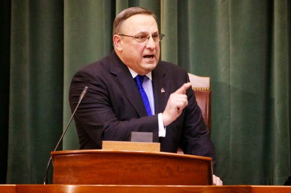 Maine Gov. Paul LePage delivers his State of the State address in the house chambers in Augusta Tuesday, Feb. 5, 2013.