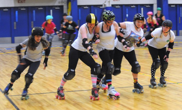 Central Maine Derby team members run some drills during practice at the Bangor Auditorium Wednesday evening.