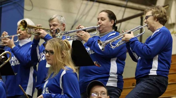 The Hodgdon High School band has enjoyed musical support from members of the community in recent years. Helping out with the trumpet section during a recent tournament game in Bangor are Penny Nevers (left), Gerry Riley, Janice Lovely and Ellen Williams.