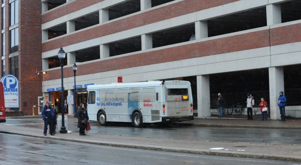 Bangor police investigate a suspicious package that was found in Pickering Square on Friday afternoon, March 1, 2013.
