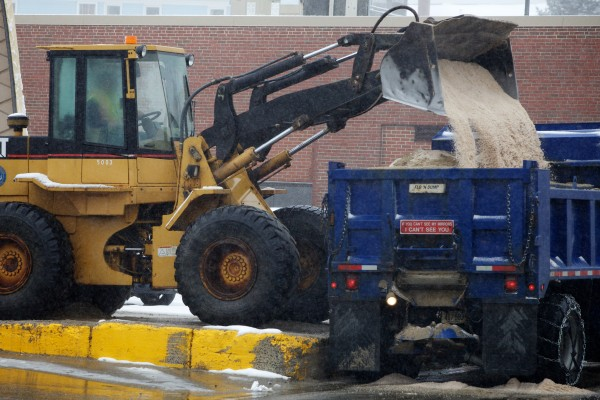 A Portland city plow truck is loaded with salt Tuesday on Portland Street. Some municipalities use salt containing cyanide, used as an anti-clumping agent. Portland does not.