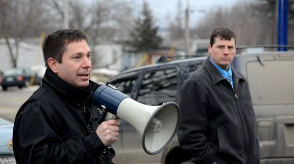 State Rep. Kenneth Fredette, R-Newport, helps lead a rally in support of the $2.8 million loan request from RSU 19 at Sawyer's Dairy Bar in Newport on Wednesday, March 6, 2013.