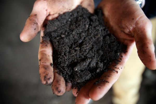 Tyler Frank of Garbage to Garden holds a bit of finished compost created at Eddie Benson's dairy farm in Gorham.