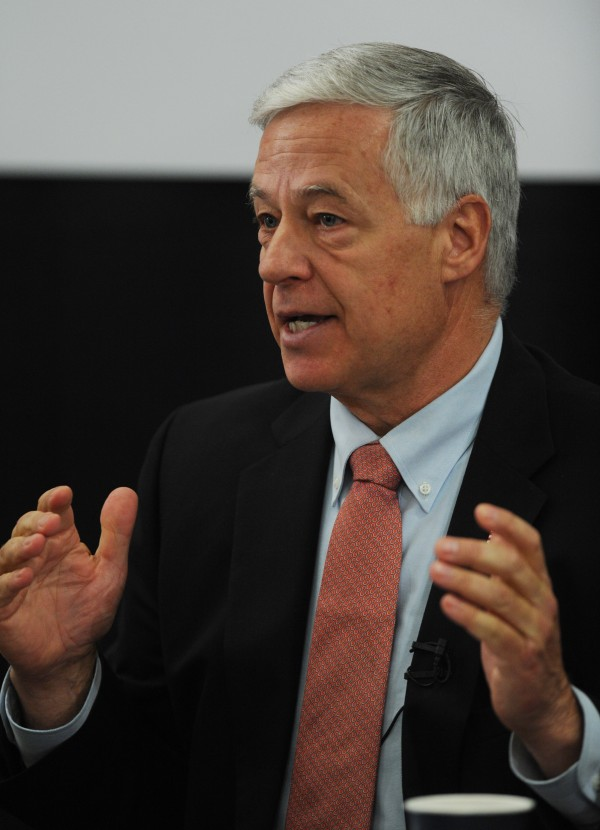 US. Rep. Mike Michaud answers questions during the Bangor Region Chamber of Commerce debate in Bangor last year.