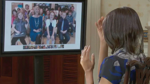 "Michelle Obama &quotvisited&quot with students in Brewer on Monday morning using Skype as part of her promotion of ""Let's Move!"" which is an effort to fight childhood obesity."