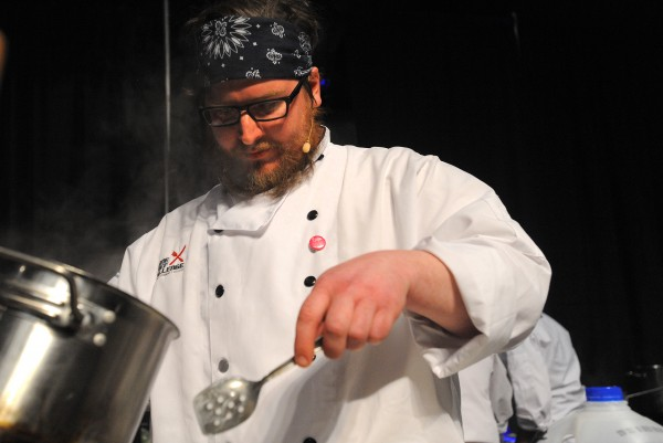 Chef Zachary Maccarone during the second annual Maine Chef Challenge at Eastern Maine Community College in Bangor.