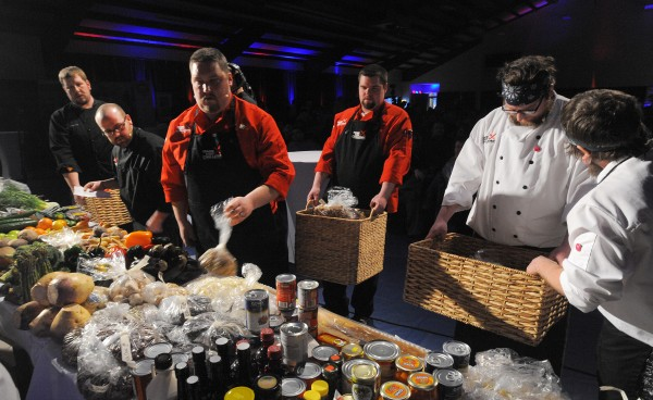 The teams select ingredients during the second annual Maine Chef Challenge at Eastern Maine Community College in Bangor.