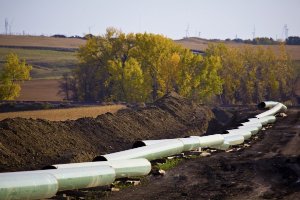 The Keystone Oil Pipeline is pictured under construction in North Dakota in this undated photograph. The U.S. State Department issued a long-awaited draft environmental assessment of the Keystone XL pipeline project that would link Canada's oil sands to refineries in Texas, March 1, 2013.