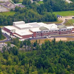 Hampden Academy, as seen from the air earlier in August, 2012. The new $49.2 million high school still has a few bugs to be ironed out.