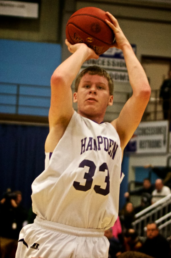 Hampden Academy's Matt Palmer shoots at the Maine State Class A Basketball Championship game Saturday in Augusta.