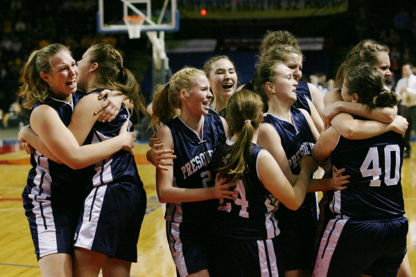 Presque Isle Wildcats celebrate after winning the Class B basketball state championship Friday, March 1, 2013, at the Cumberland County Civic Center in Portland. The Wildcats beat the Lakers 51 to 44.