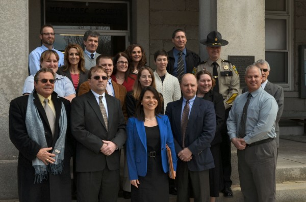Kennebec and Somerset County District Attorney Maeghan Maloney, center, introduces her team of assistant district attorneys outside of Kennebec County Superior Court in Augusta on Thursday, March 28, 2013.