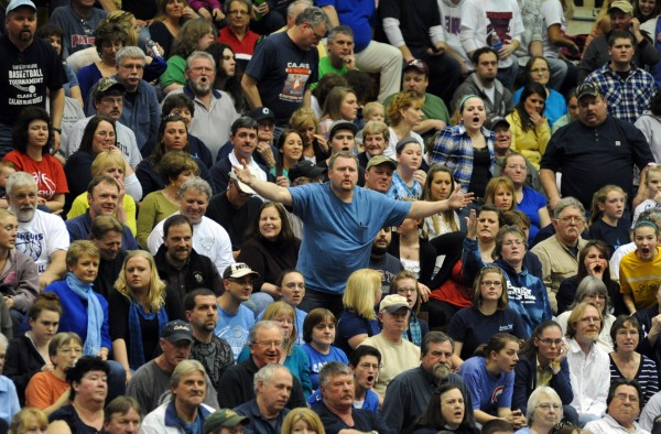 Calais fans aren't happy with a referee's call in first half action of the Class C girls state championship game at the Bangor Auditorium Saturday night.