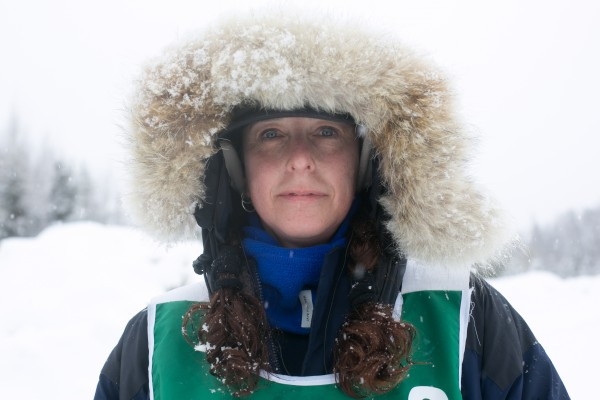 Jaye Foucher of New Portland before she leaves with her team from the Rocky Brook checkpoint on Saturday March 3, 2013.