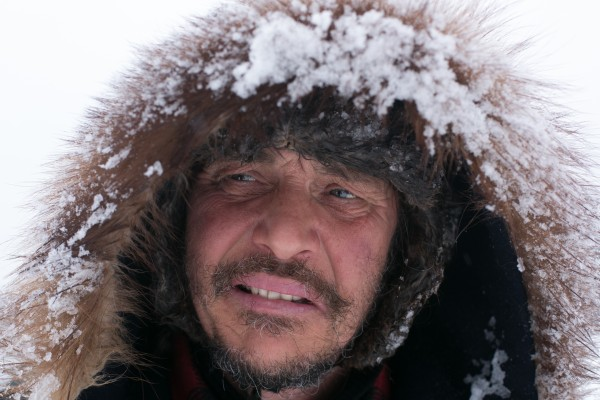 Gino Roussel of St-Jacques, New Brunswick, Canada, after arriving with his team at the Rocky Brook checkpoint on Saturday, March 2, 2013.