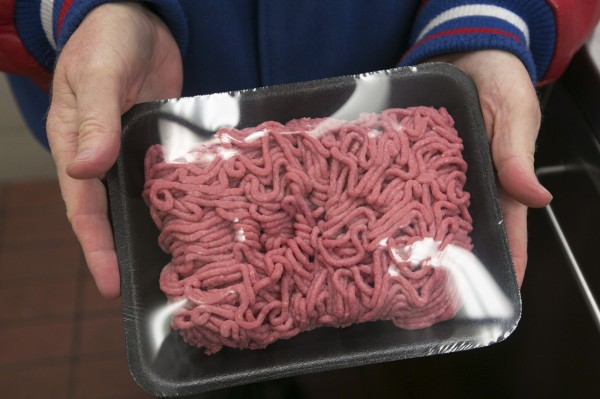 Rich Jochum displays a package of lean, finely textured beef at the Beef Products Inc. facility in South Sioux City, Neb., on November 19, 2012.