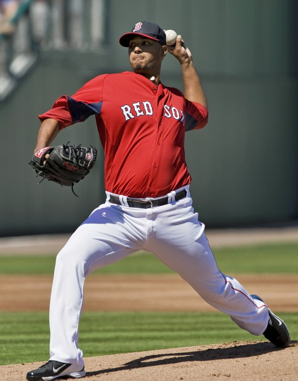 Boston Red Sox starter Felix Doubront pitches against the Tampa Bay Rays during the first inning of an MLB spring training game in Fort Myers, Fla., on March 4, 2013.
