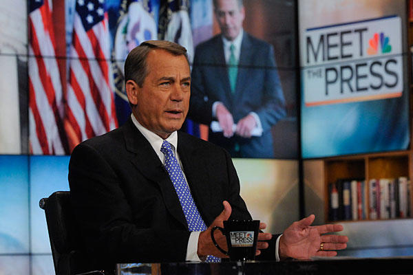 House Speaker John Boehner told &quotMeet the Press&quot that he discussed the need to avoid a possible shutdown with President Barack Obama during a meeting on Friday between the president and congressional leaders.
